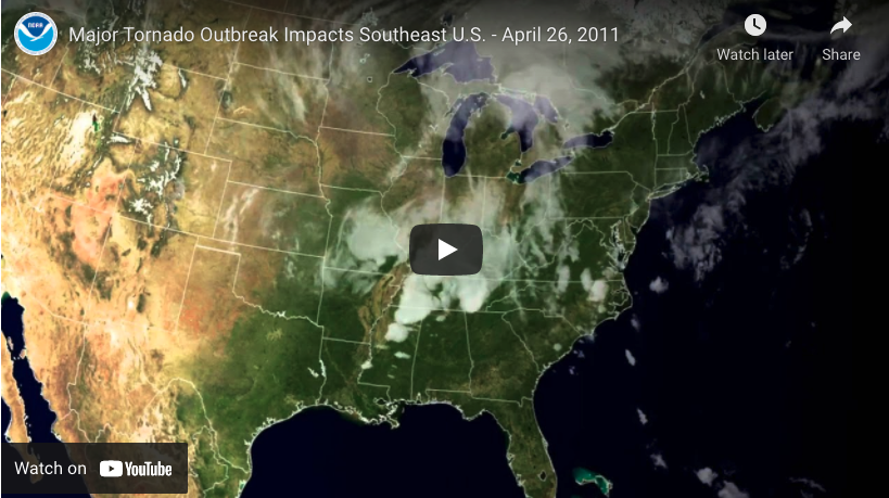 Satellite images show tornado storm system in motion YouTube screengrab