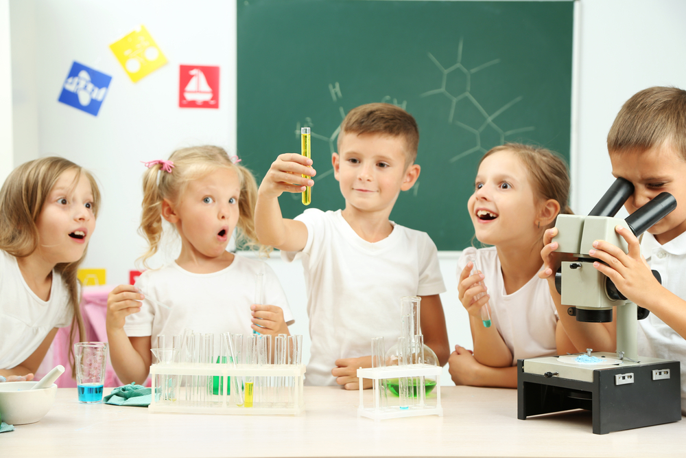 Children doing a science experiment