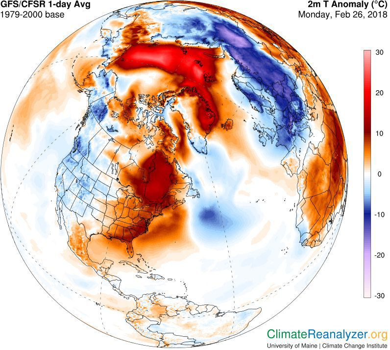 Temperature anomaly on 26th February 2018 (Credit: University of Maine, Climate Change Institute)
