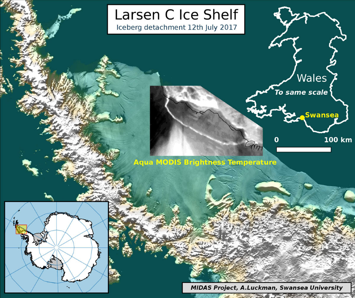 The iceberg on a map