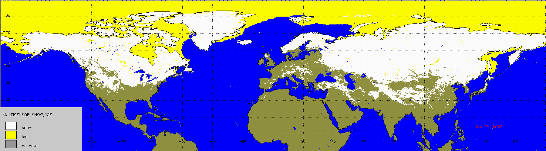 28th January Northern Hemisphere Snow Cover