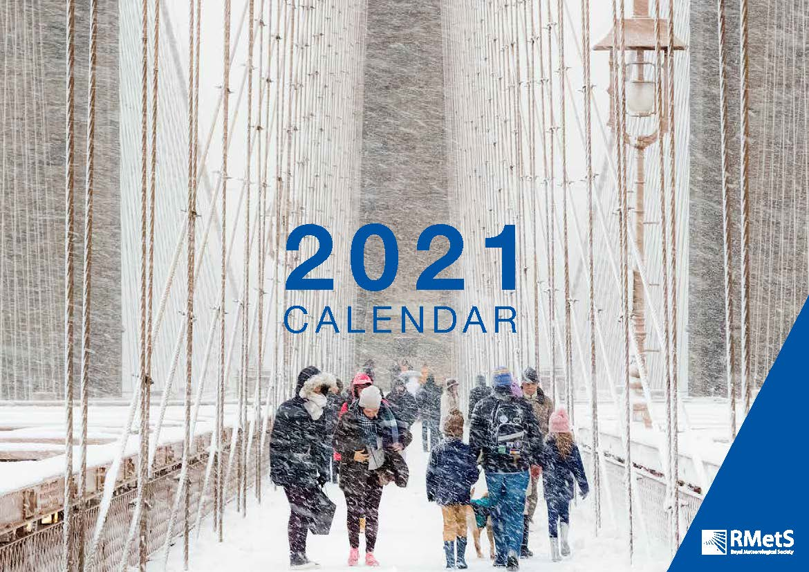 2021 Calendar cover image - blizzard on Brooklyn Bridge