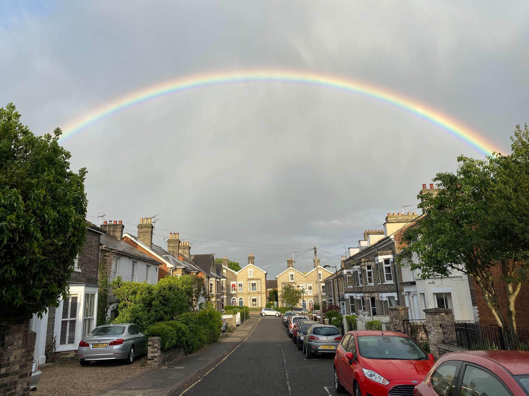 Rainbow in lockdown street - photographer Ollie Bevan-Thomas