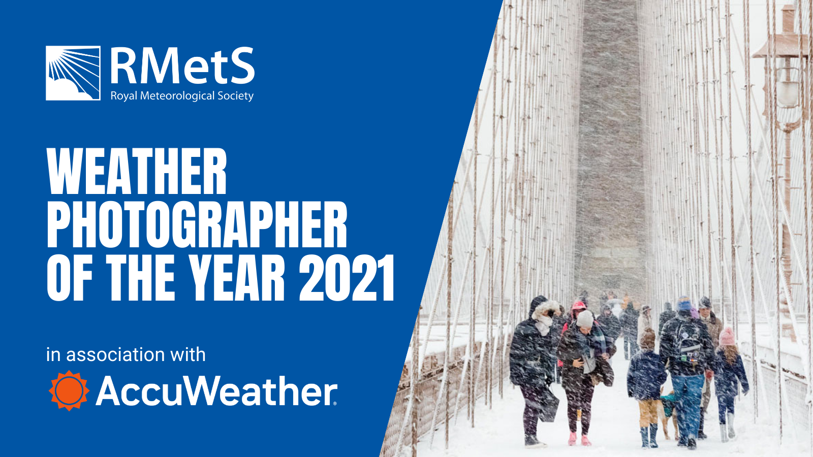 Banner image with last year's winning image of people in a blizzard on Brooklyn Bridge