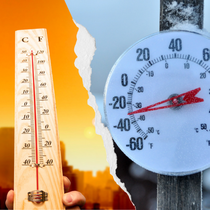 thermometers show extreme hot and cold temperatures