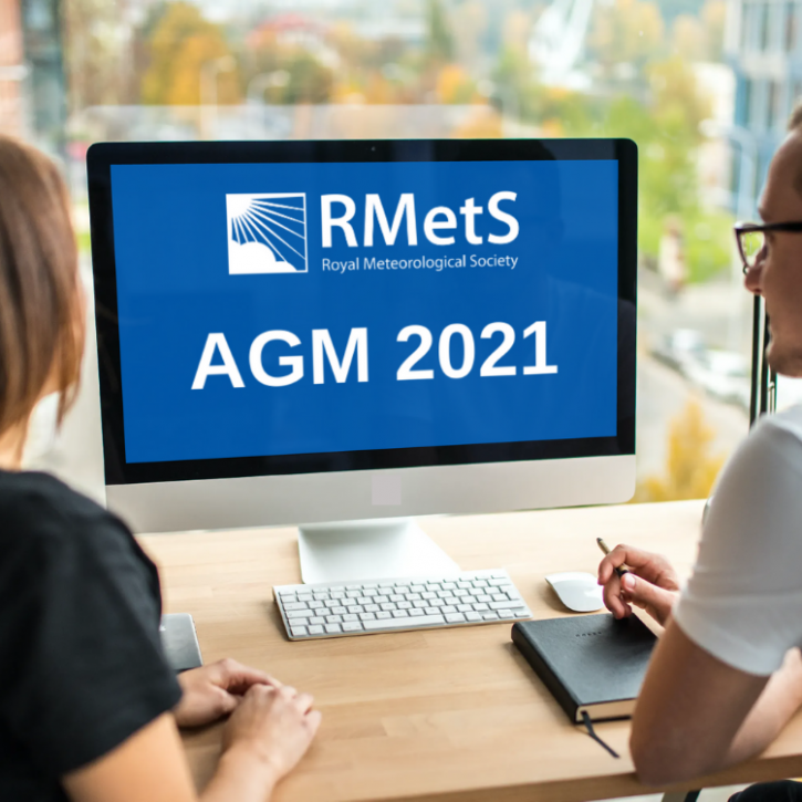 A computer screen showing the RMetS logo and AGM 2021