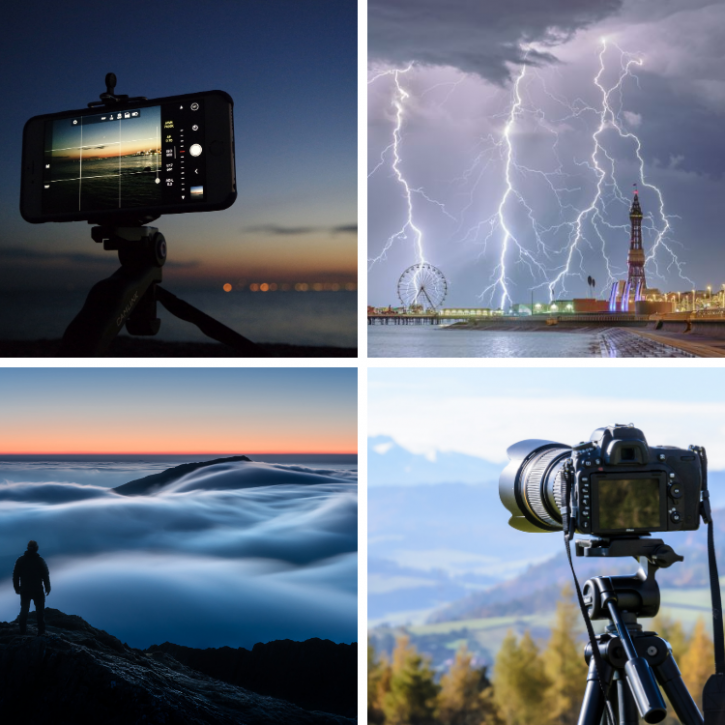 a collage of 4 images showing a camera, digital phone camera, lightning and clouds over mountain tops