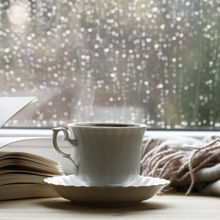 A book and teacup in front of a rainy window