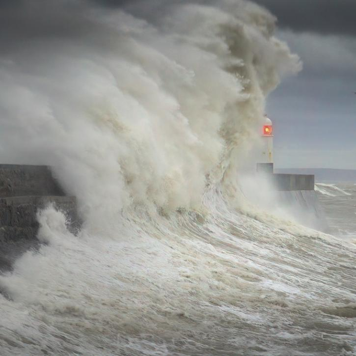 Storm Ciara hits Porthcawl lighthouse in South Wales, UK
